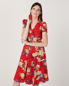 Queenspark Ming Dynasty Mock Wrap Dress Red