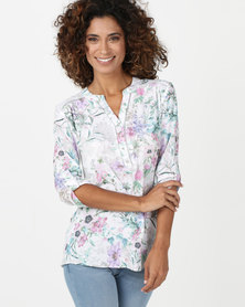 Queenspark Floral 3/4 Roll Up Sleeve Woven Shirt Multicoloured