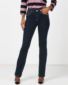 Queenspark Woven Denim Bootleg Jeans Indigo