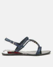 Queenspark Toggle Strippy Upper On Wedges Navy