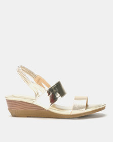 Queenspark Classic Double Strap On Metallic Wedges Gold