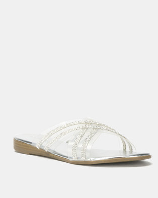 246820c3a8bd Queenspark Diamante Cross Over Low Wedge Sandals Silver
