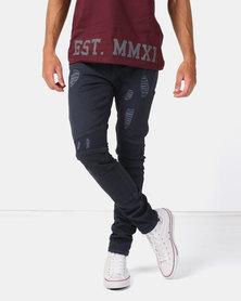 Urbanart Ryder Biker Denim Jeans Navy