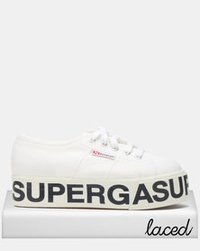 Superga Logo Print Canvas Wedge Sneakers White