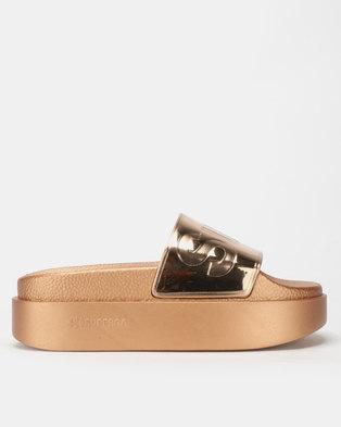 Superga Metallic Wedge Slides Rose Gold 06d6642c44