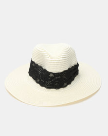Utopia Weave Trim Straw Hat White