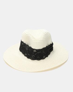 Utopia Weave Trim Straw Hat White