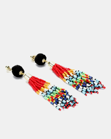 Legit Tassel Bead Earrings Multi