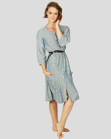 Basic Journey Round Neck Button Dress Blue