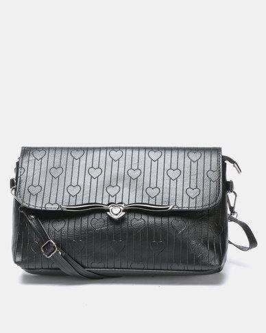 Utopia Heart Embossed Crossbody Bag Black