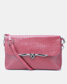 Utopia Heart Embossed Crossbody Bag Maroon