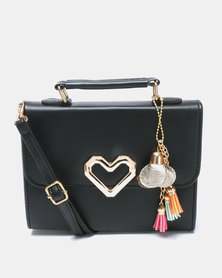 Utopia Heart Trim Crossbody Bag Black