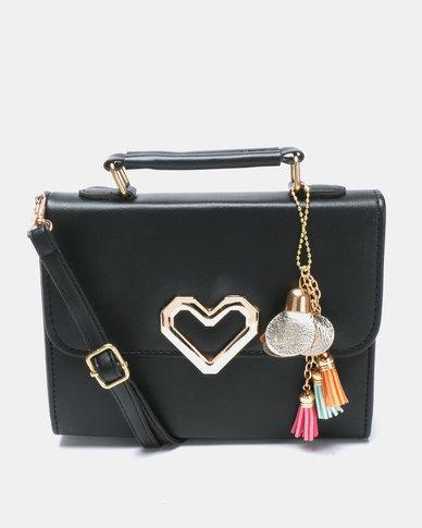 Utopia Heart Trim Crossbody Bag Black