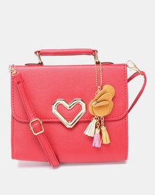 Utopia Heart Trim Crossbody Bag Red