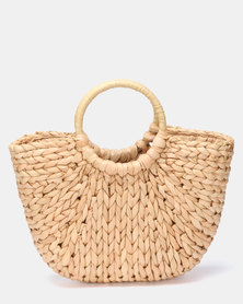 Utopia O Handle Straw Bag Natural