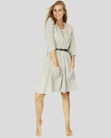 Basic Journey Round Neck Button Dress Stripe