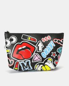 Utopia Funky Printed Cosmetic Bag Black/Multi