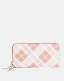 Utopia Argyle Zip Over Purse Soft Pink