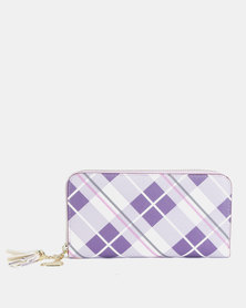 Utopia Argyle Zip Over Purse Purple