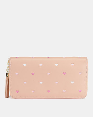 Utopia Heart Emroidered Purse Soft Pink