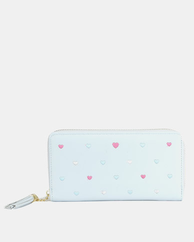 Utopia Heart Emroidered Purse Blue