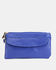 Utopia Embossed Purse with Side Zip Blue