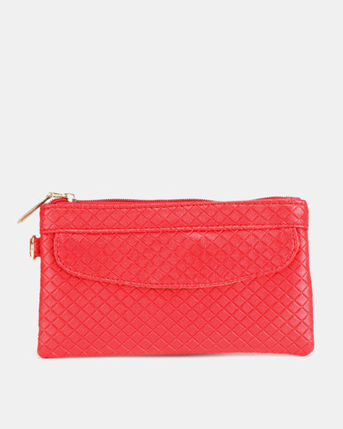 Utopia Embossed Purse with Side Zip Red
