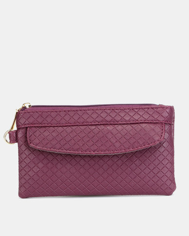 Utopia Embossed Purse with Side Zip purple