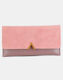 Utopia Faux Suede Foldover Purse Pink