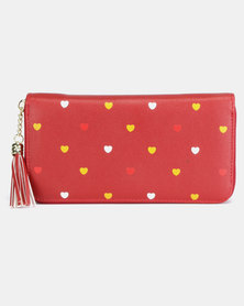 Utopia Heart Emroidered Purse Red
