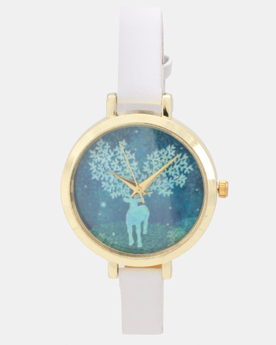 Utopia Deer Tree Watch White