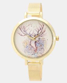 Utopia Deer Watch Gold-Toned