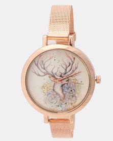 Utopia Deer Watch Rose Gold-tone
