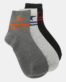 Utopia Star 3 Pack Socks Multi