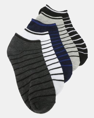 Utopia Stripe 5 Pack Anklets Multi