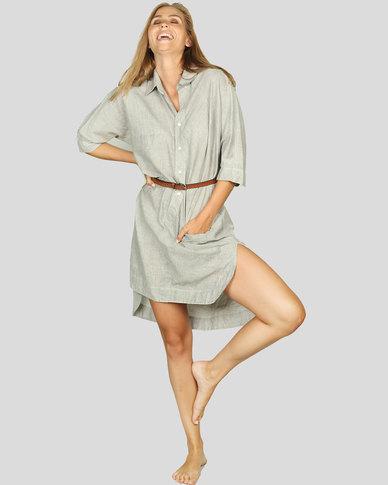 Basic Journey Long Button Down Shirt Grey