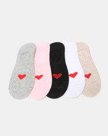 Utopia Heart 5 Pack Secret Socks Multi