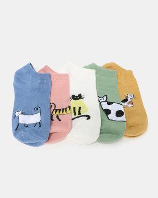 Utopia Kitty 5 Pack Anklet Socks Multi