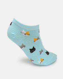 Utopia Printed 3 Pack Anklet Socks Multi