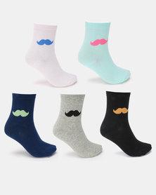 Utopia Moustache 5 Pack Socks Multi