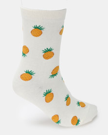 Utopia Pineapple Socks White