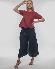 Basic Journey Tie Back Top Red