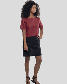 Basic Journey Colour Block Dress Garnet/Black
