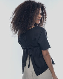 Basic Journey Tie Back Top Black