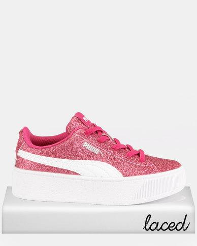 Puma Girls Vikky Platform Glitz AC PS Sneakers Pink  a3e4b10fb