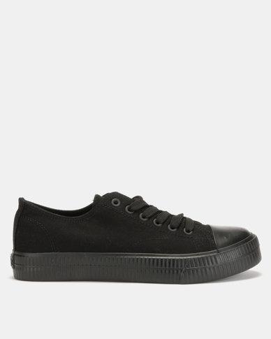 Lee Cooper MF Kano Mens Low Cut Canvas Shoes Black Mono