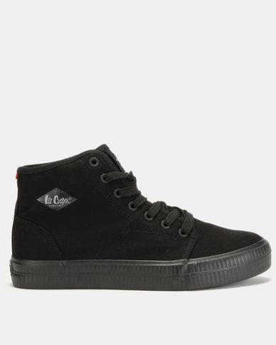 Lee Cooper MF Sterling Mens Mid Cut Canvas Shoes Black Mono