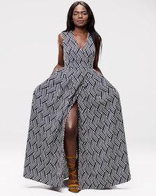 Blue Mango Wraparound Maxi Dress Geometric Print Blue
