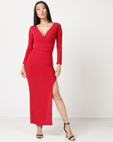 Zip-Code 3/4 Sleeve Wrap Top Dress With Thigh High Side Slit Red