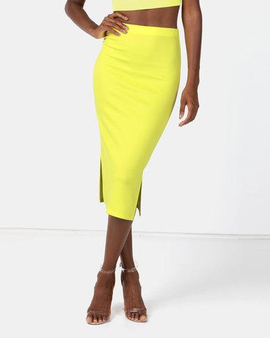 Brett Robson Pri Plain Scuba Bodycon Skirt Lime